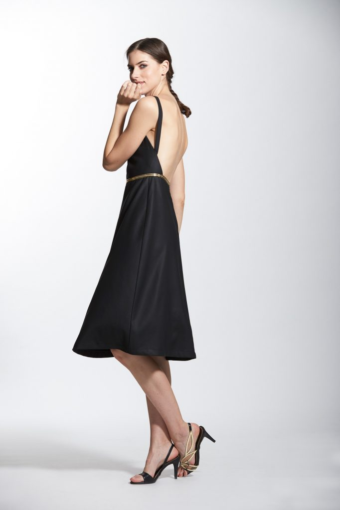Low Back Calf Length Dress With Gold Tape Detail E C L I P S E